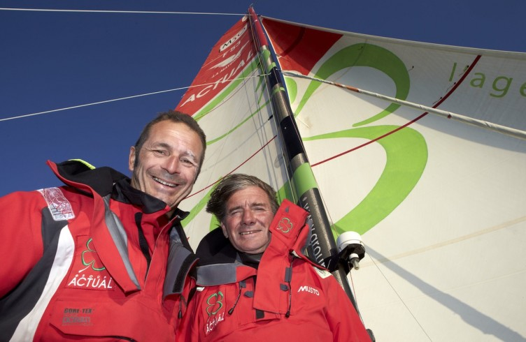 """A bord du trimaran """"ACTUAL"""" , Yves Le Blevec (FRA) skipper et Kito de Pavant (FRA) co-skipper pour la Transat Jacques Vabre 2013."""