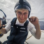 Peter Popp Wibroe tries the Go Pro helmet out. Day 18 at Sea.