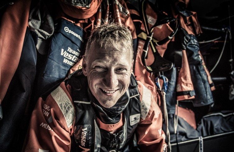 Winds are still in the high 20's and life aboard is proving difficult. Peter Popp Wibroe still has a smile for the camera.