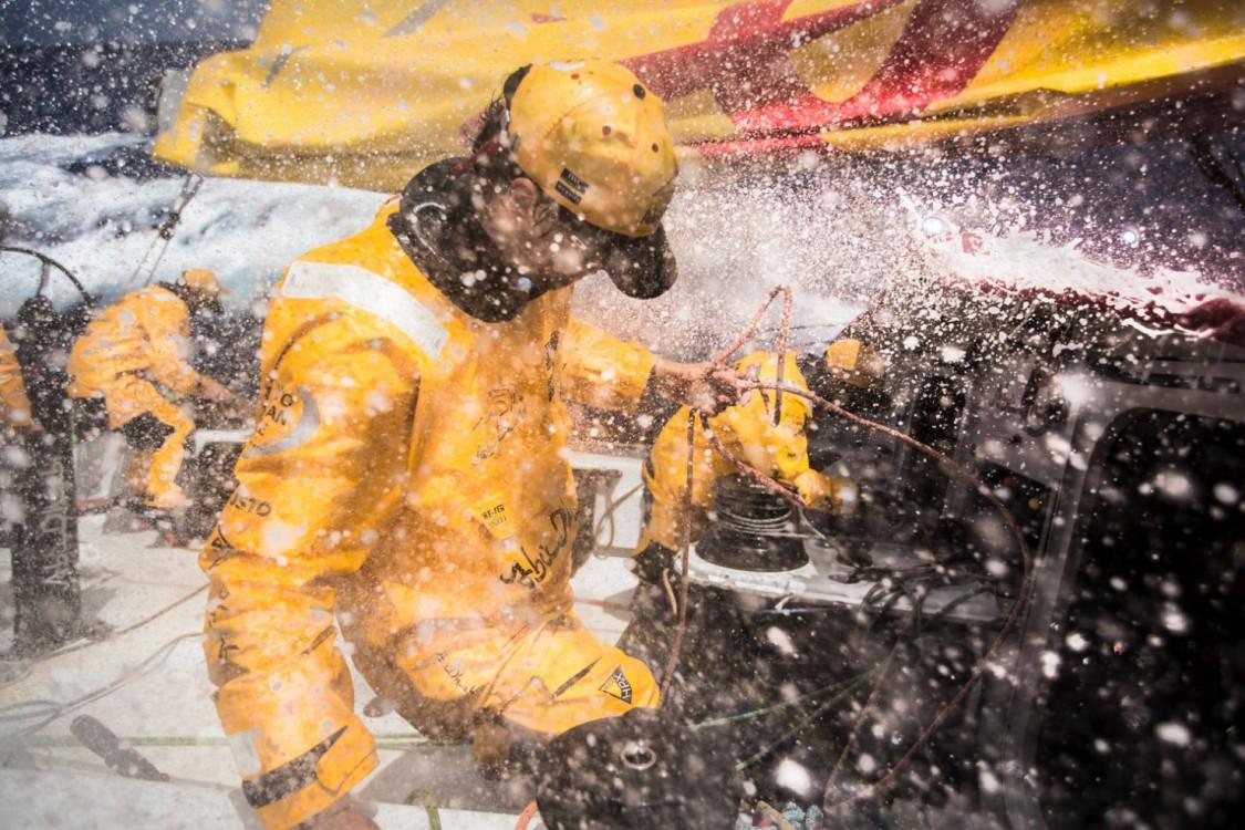 2014-15, Abu Dhabi Ocean Racing, Leg6, OBR, VOR, Volvo Ocean Race, onboard, Daryl Wislang, Adil Khalid, reef, splash, wet