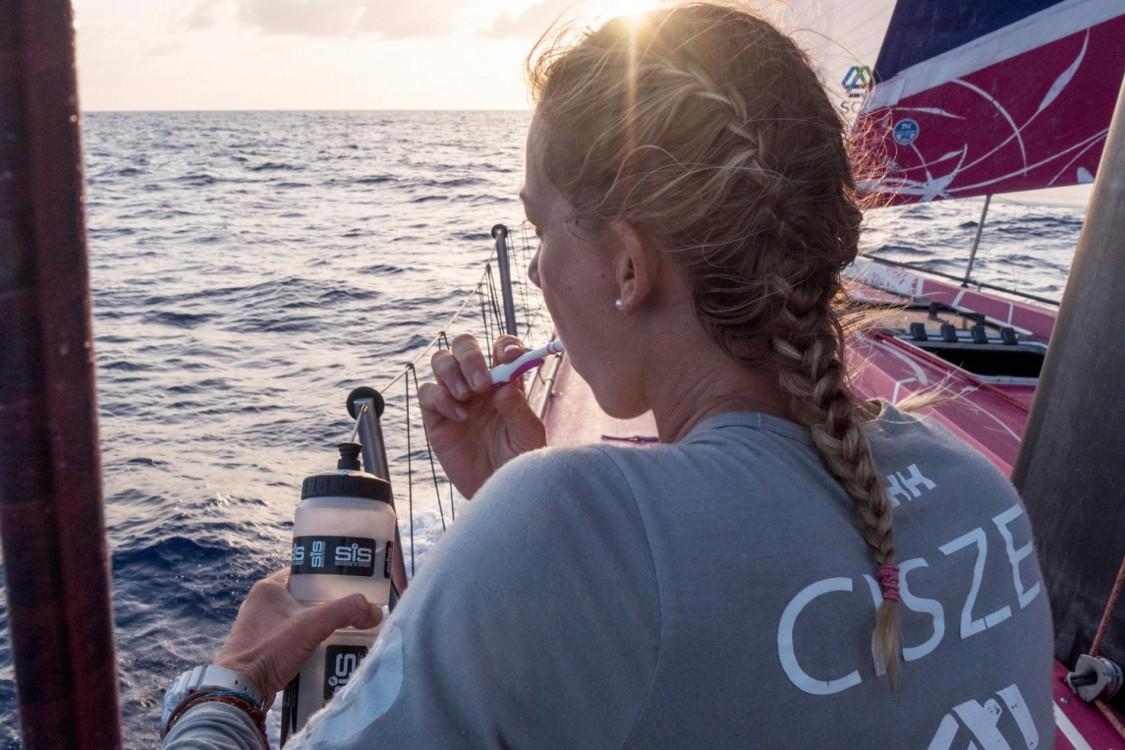 2014-15, ACTION, LEGS, Leg 6, OBR, Sophie Ciszek, Team SCA, VOR, Volvo Ocean Race, onboard, toothbrush, hygiene, sunset