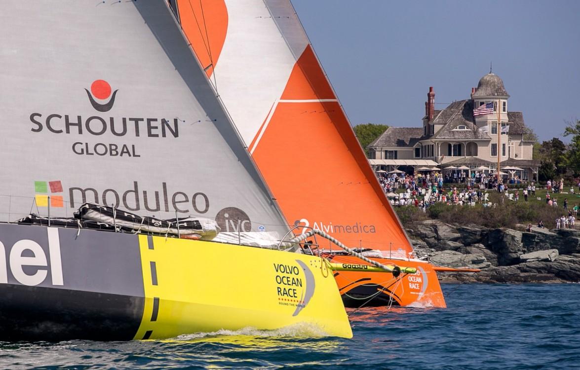 Volvo Ocean Race, 2014-15, VOR, Newport, Start, Day0, Team Brunel, Team Alvimedica, city view, crowd