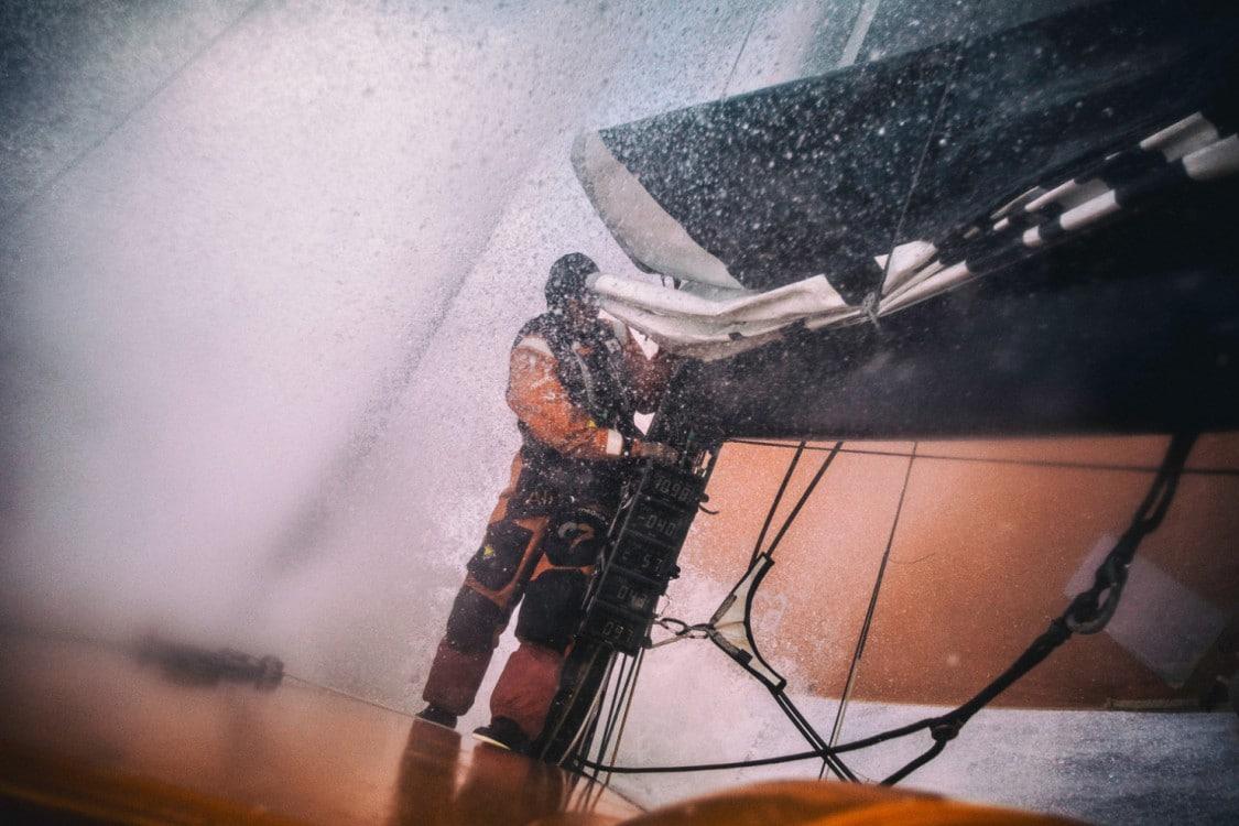 2014-15, Leg8, ONBOARD, TEAM ALVIMEDICA, VOR, Volvo Ocean Race, Nick Dana, wet, splash, mast, Bay of Biscay