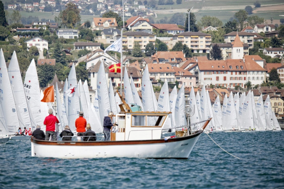 Grandson, Neuchatel Lake, Star, Star Class, Star Sailor League, Swiss, Switzerland, Vaud, boat, color, country, country side, crew, dinghy, event, horizontal, hull, league, mats, monohull, one design, outdoor, race, racing, regatta, sail, sailing, sport, two men, water, wind, yacht, yachting