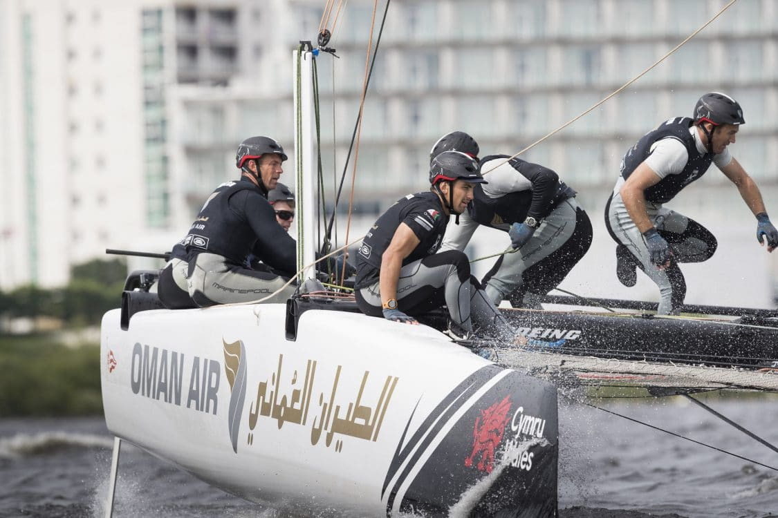 The Extreme Sailing Series 2016, Multihull, GC32, Cardiff, Act3, Foiling Catamaran, Land Rover BAR Academy, Oman Air, Morgan Larson