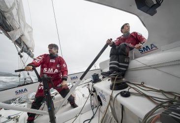 navigation, convoyage, traversée, aout, ete, summer, august, sailing, imoca, duo, transat, entrainement, training, skippers, eau, mer, sea, vagues, vent, wind, embarqué, onboard, aboard