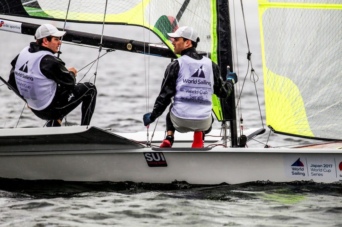 2018 World Cup Series, 49er, GAMAGORI, Japan, Olympic Sailing, SUI 111Sebastien Schneiter (M)SUISS6Lucien CujeanSUILC1, Sailing Energy, WC Series Gamagori, World Sailing