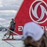 Bowman,Detail,Commercial,New Zealand,Bowsprit,Auckland,Practice Race,Dongfeng,NORTH SAILS,Jack Bouttell,art,2017-18,Artistic,Under 30,port, host city, NZ,Team Sun Hung Kai/Scallywag,Race Suppliers,Kind of picture